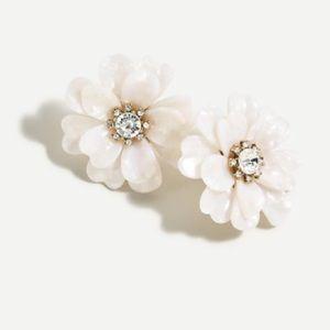 J. Crew Full Bloom Earrings- White